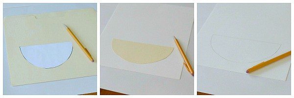 tracing a basket shape on art paper