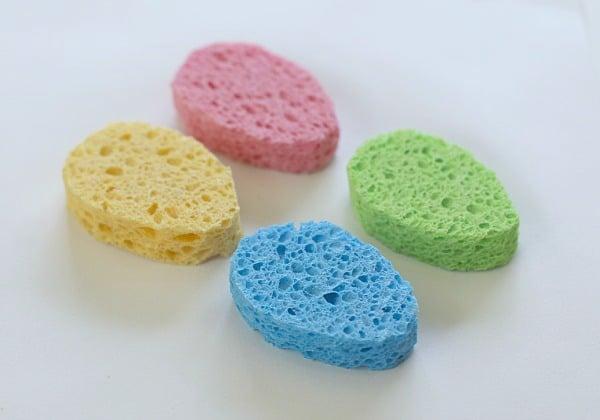 egg shaped sponges for Easter craft