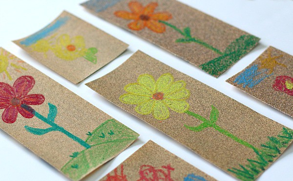 Sandpaper and crayon art for kids buggy and buddy for Drawing on wax paper