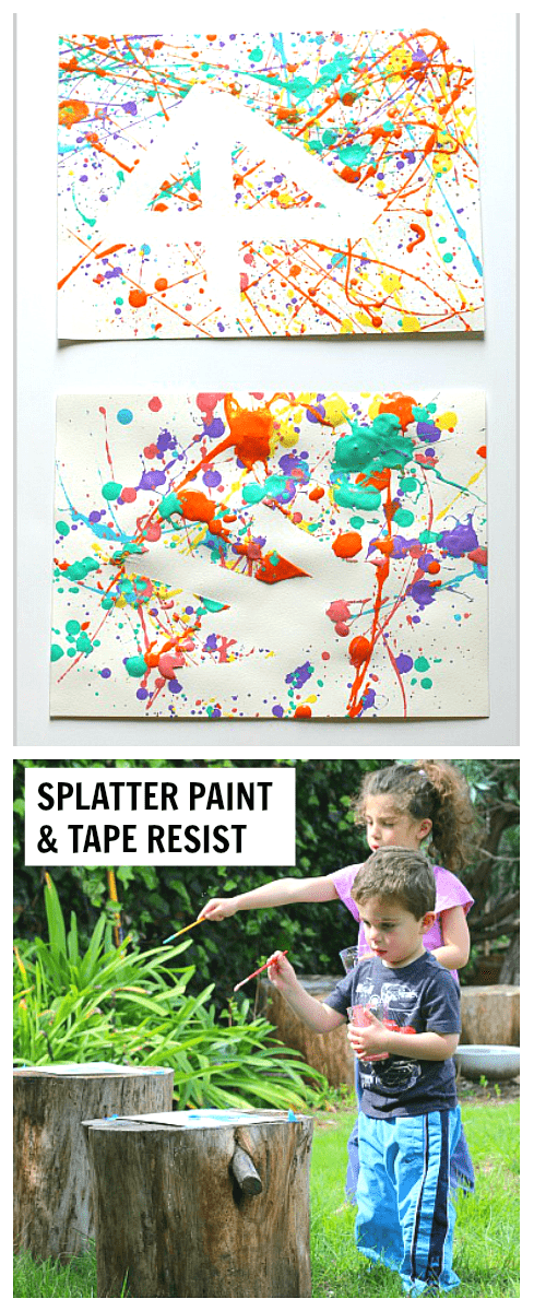Easy art projects for kids splatter paint and tape resist for Best paint for outdoor crafts