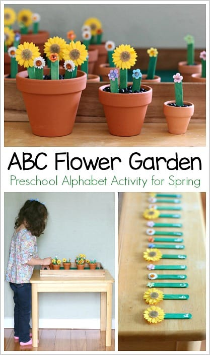 Alphabet Flower Garden Spring Activity for Preschool: Fun, hands-on way to learn the ABC's and name practice!