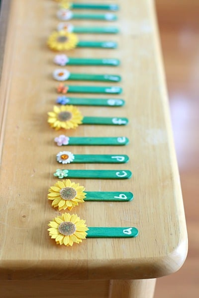 Popsicle Stick Flowers for ABC Practice