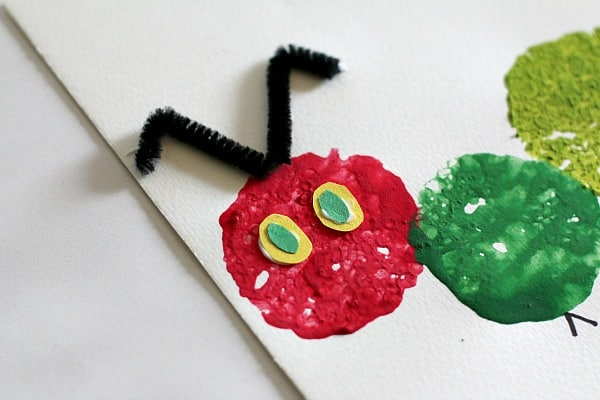 add eyes and antennae to caterpillar craft for kids