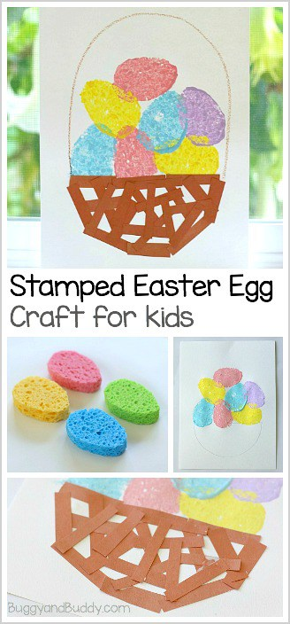 Easter Craft for Preschool and Kindergarten: Stamped Easter Eggs and Paper Basket ~ BuggyandBuddy.com