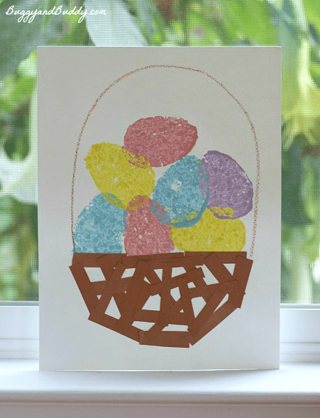 Easter Crafts For Kids Sponge Painted Easter Egg Basket Buggy And