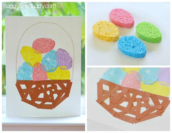 simple easter construction paper craft easter crafts for sponge painted easter egg basket 7150
