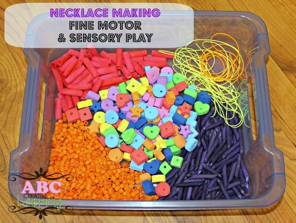 Necklace Making Fine Motor and Sensory Play