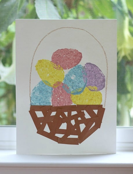 Easter Crafts for Kids: Sponge Painted Easter Eggs & Basket
