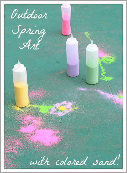 Spring Art for Kids: Drawing Outside with Colored Sand~ Buggy and Buddy