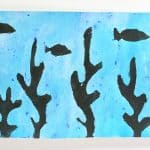 Art Projects for Kids: Ink and Tempera Resist Ocean Scenes