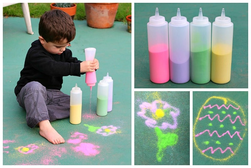 Spring Process Art for Kids: Draw with color sand outside