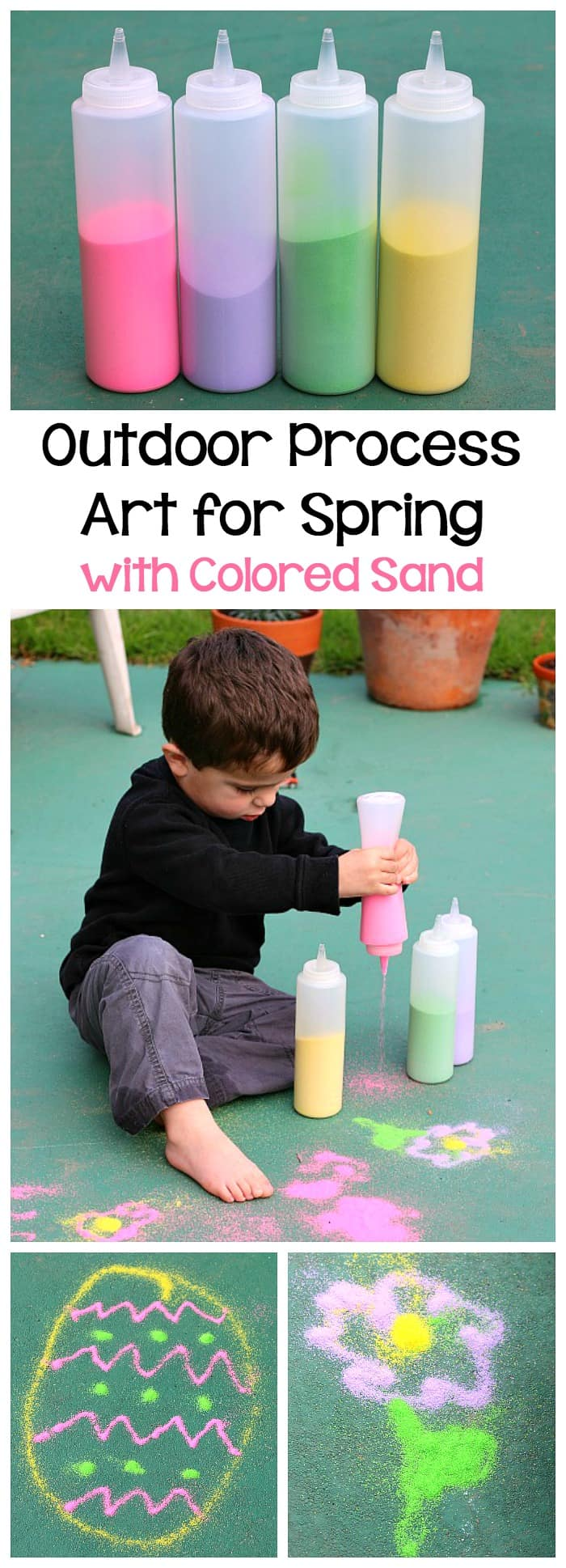 spring activities for kids drawing outside with spring colored sand