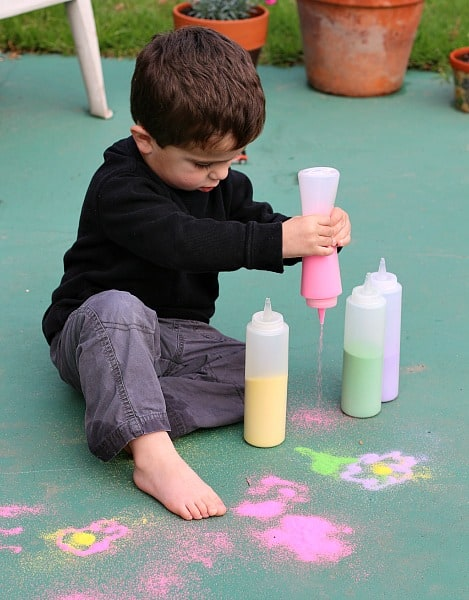 Drawing with Colored Sand Outside