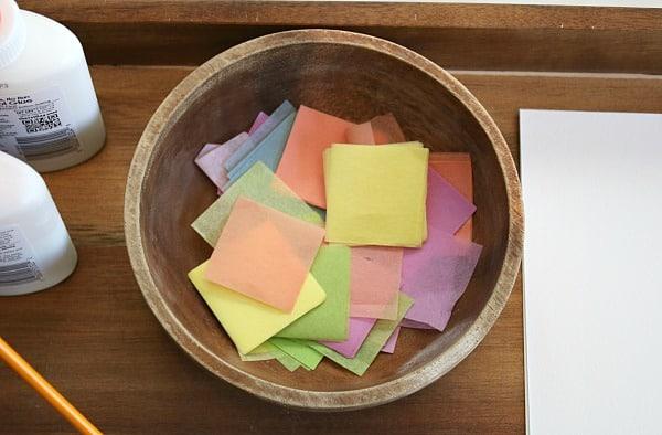 spring colored tissue paper squares