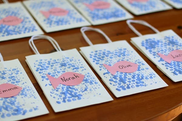 homemade fish party favor bags