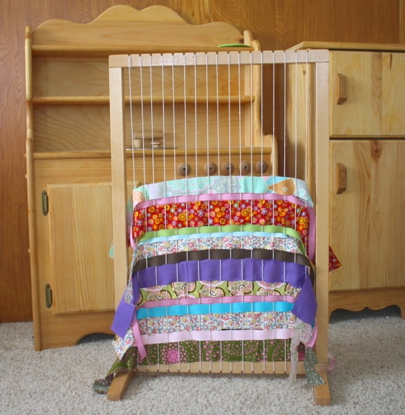 Using a Large Weaving Loom with Kids (Such a fun way to use scraps of fabric and ribbon!)~ Buggy and Buddy