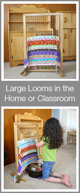 Using a large weaving loom with kids in the home or classroom~ Buggy and Buddy