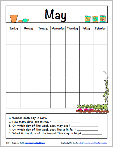 Calendar Worksheet Pdf : May calendar for kids free printable buggy and buddy