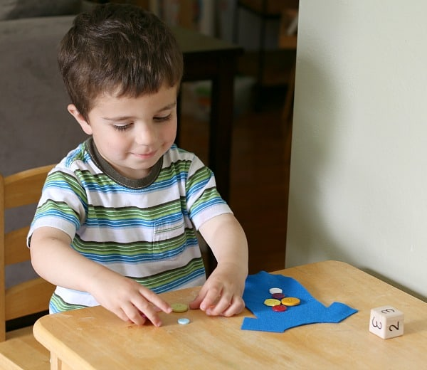 Subtraction Math Game Based on Pete the Cat and His Four Groovy Buttons