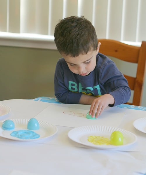 stamping with plastic eggs