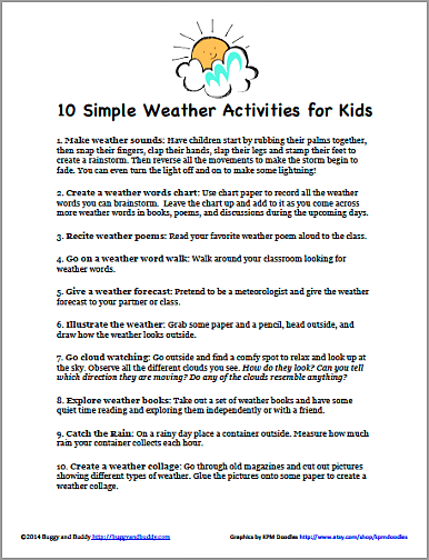10 Simple Weather Activities for Kids that Require Little or No ...