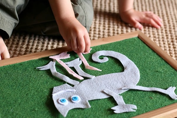 Playing with The Mixed Up Chameleon Felt Set