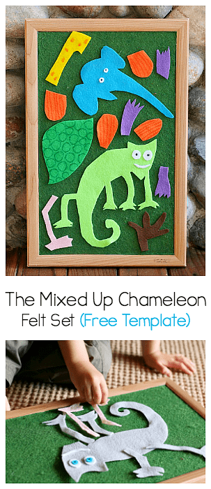 Free Template for Felt Pieces inspired by Eric Carle's The Mixed Up Chameleon!