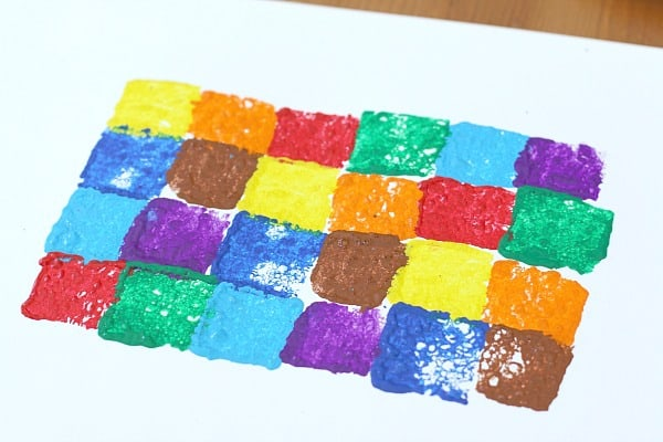 sponge stamp rows of colors