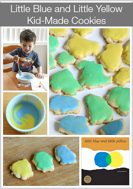 Explore color mixing with these kid-made cookies based on the story, Little Blue and Little Yellow! ~ Buggy and Buddy