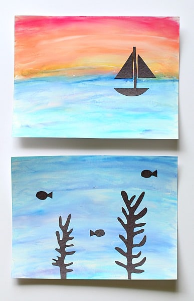 Art for kids ocean scenes using chalk and tempera paint for Painting craft projects