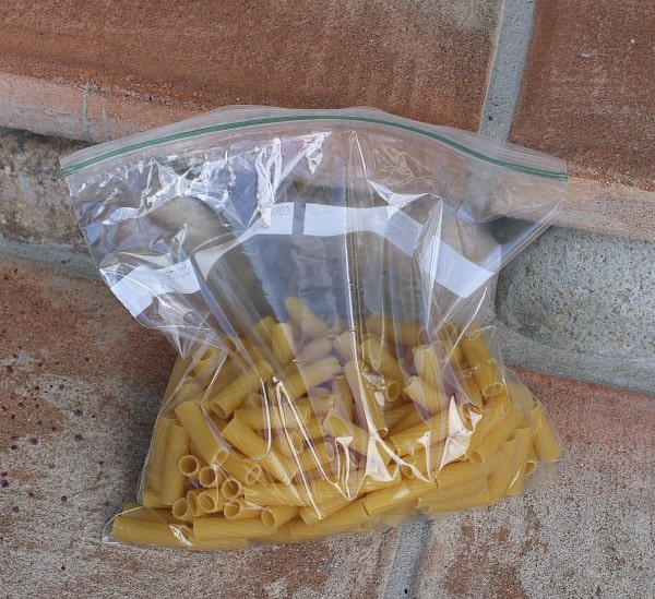 Place pasta in baggie