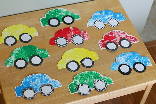 paper car craft for kids using sponge painting buggy and