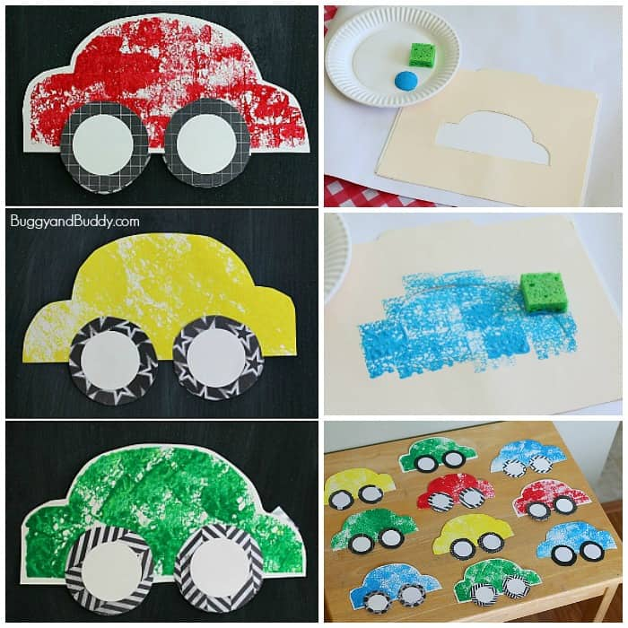 Paper car craft for kids using sponge painting buggy and for Cardboard activities for toddlers