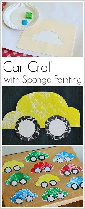 Paper car craft for kids using sponge painting buggy and for Sponge painting for kids pictures