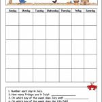 July Calendar for Kids (Free Printable)