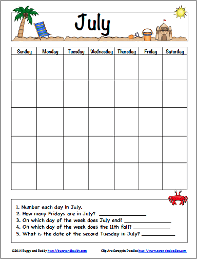 July Calendar for Kids (Free Printable)~ Buggy and Buddy