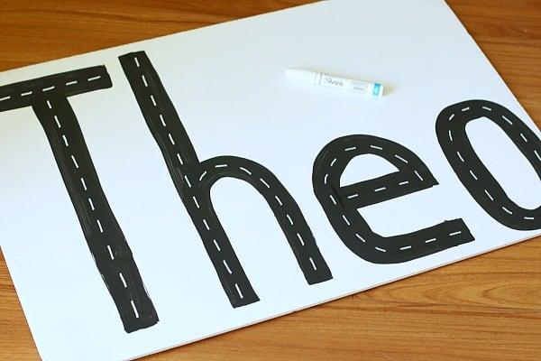 add white lines to make roads