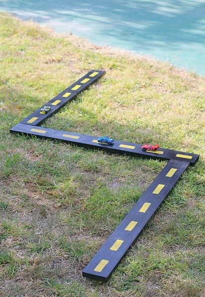 homemade wooden ramps and roads for toy cars