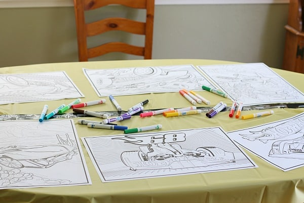 car coloring activity for car themed birthday party