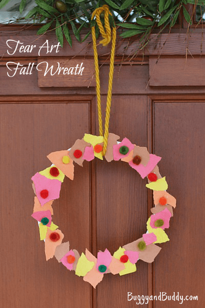 easy craft ideas for preschoolers fall crafts for tear fall wreath buggy and buddy 6512
