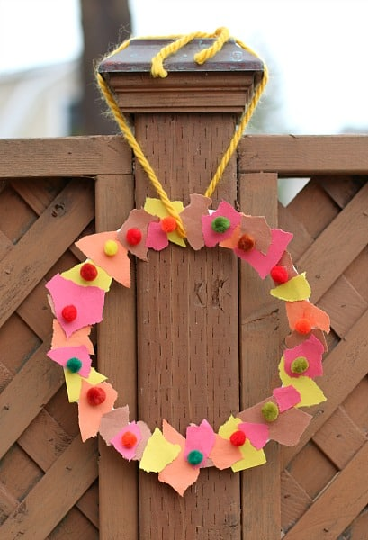 Fall Crafts For Kids Tear Art Fall Wreath Buggy And Buddy
