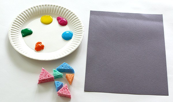 materials for triangle collage art for kids