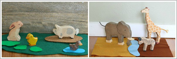 Create different scenes using felt for play