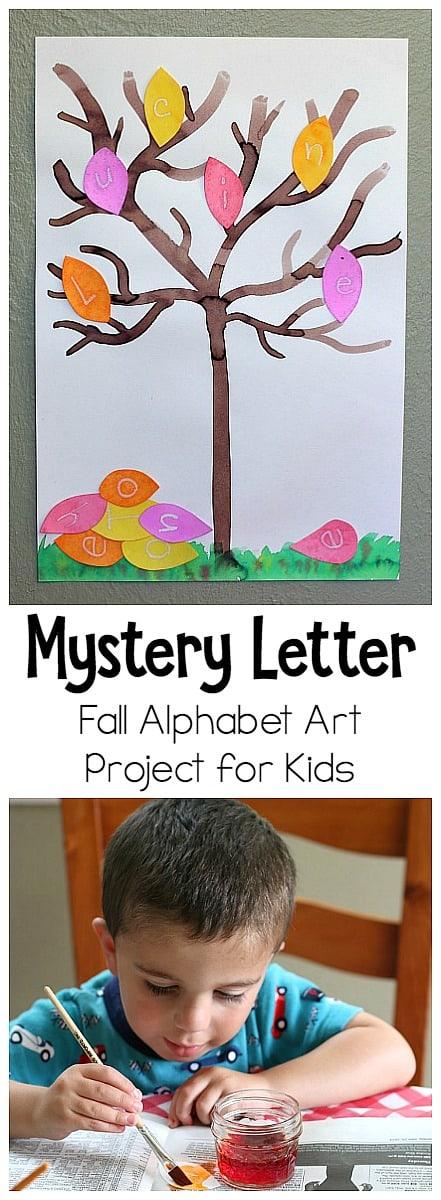 Mystery Letter Fall Tree Alphabet Art Project