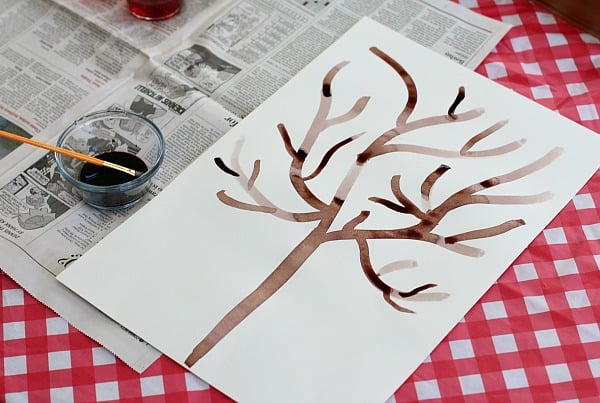 paint a bare tree for your leaves