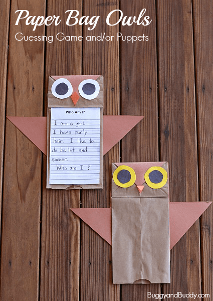 Such a cute owl craft using a brown paper lunch bag! (Who's Who? Owl Craft for Kids w/ FREE Printable) ~ Buggy and Buddy