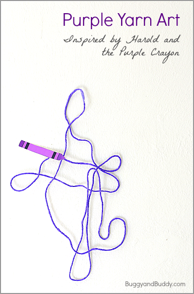 Yarn art inspired by harold and the purple crayon buggy for Harold and the purple crayon coloring pages