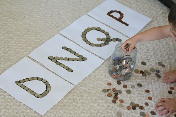Fun coin sorting activity for kids