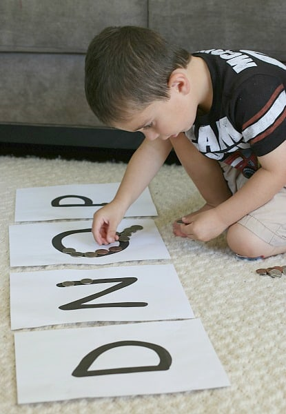 sorting coin activity for kids