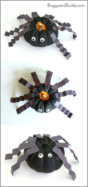 Perfect Halloween Craft for Preschoolers! (Spiders made from mini pumpkins!) ~ BuggyandBuddy.com